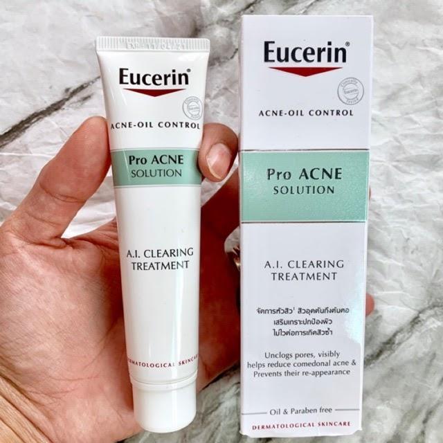 Review Kem trị mụn cho da nhạy cảm Eucerin ProAcne Clearing Treatment Eucerin