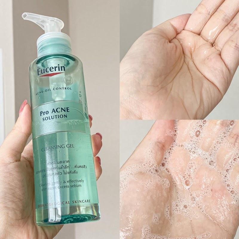 Review Sữa rửa mặt trị mụn Eucerin ProAcne Cleansing Gel