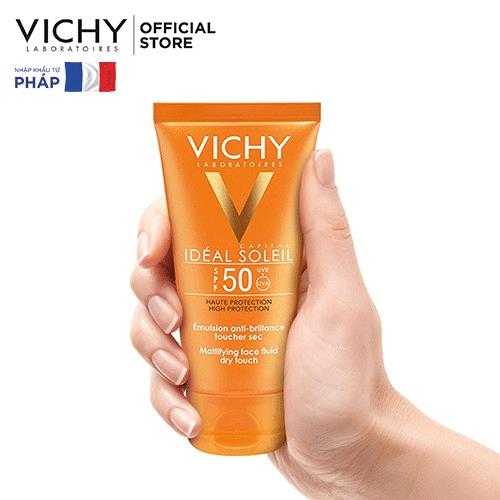 Review Kem chống nắng dưỡng trắng da mặt SPF50 Vichy Capital Soleil SPF50 Face Dry Touch