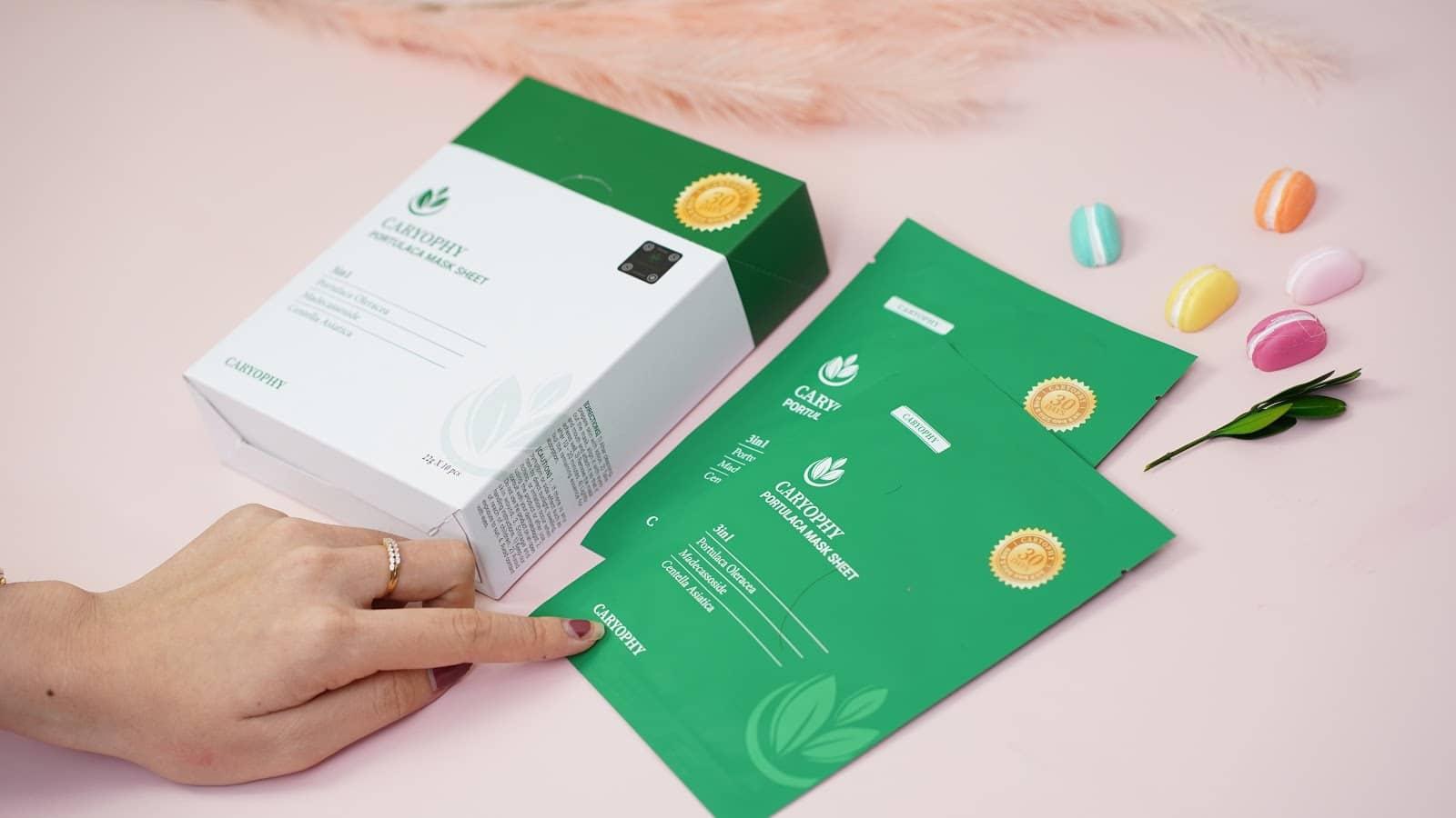 Review Mặt nạ trị thâm mụn Caryophy Portulaca Mask Sheet