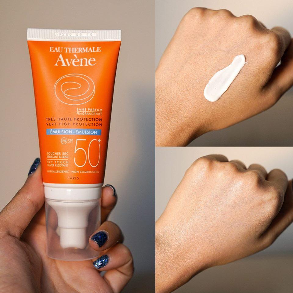 Review Kem chống nắng Avene Protection SPF50+ Fragrance Free không hương liệu cho da khô nhạy cảm