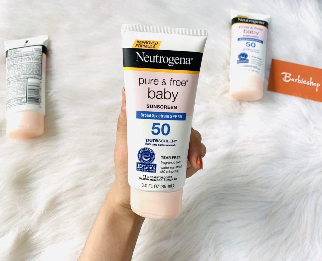 Review Kem chống nắng cho bà bầu Neutrogena Pure & Free Baby Sunscreen Broad Spectrum SPF 50