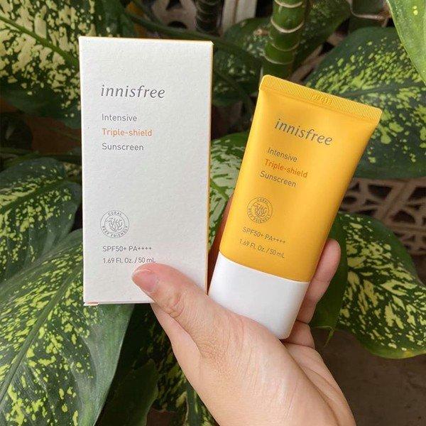 Review Kem chống nắng cho bà bầu innisfree Intensive Triple Care Sunscreen SPF50+ Pa++++