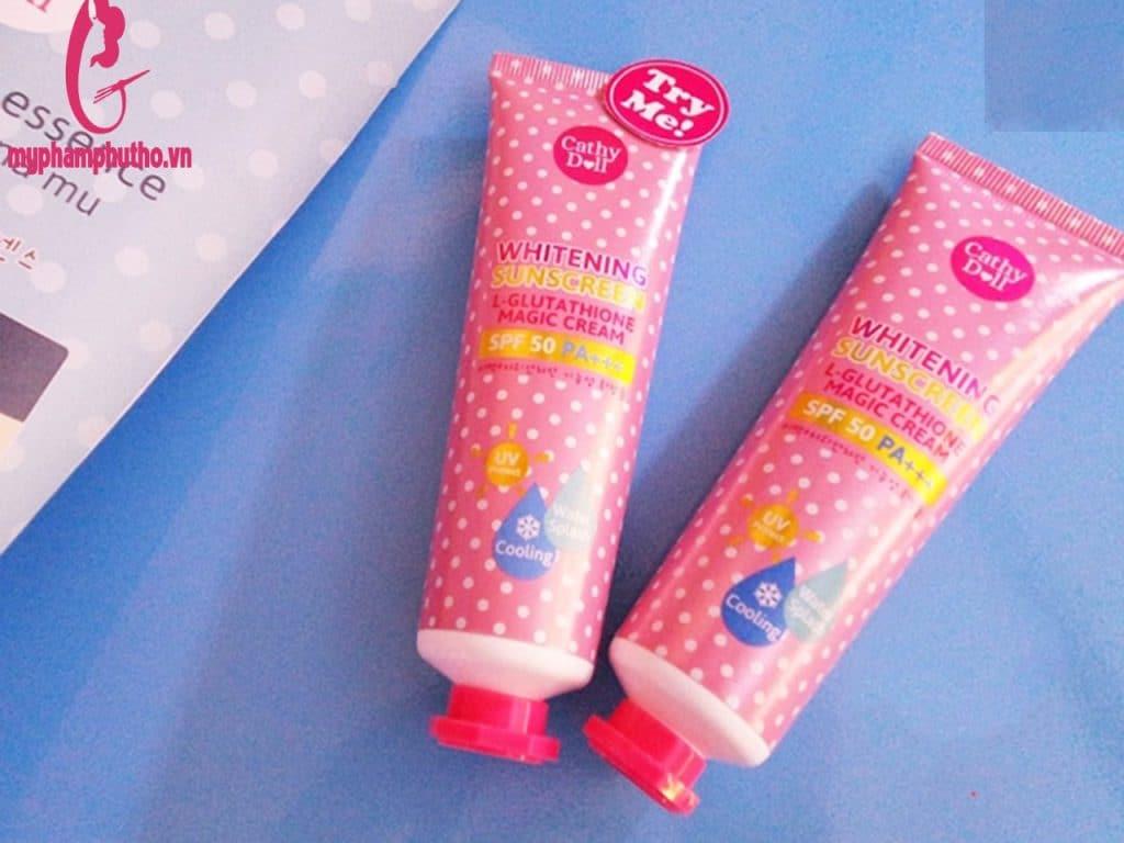 Review Kem chống nắng trắng da của Thái Lan Cathy Doll L- Glutathione Magic Cream Spf50 Pa+++