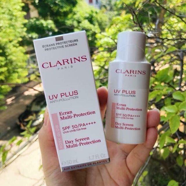 Riew Kem chống nắng cho bà bầu CLARINS UV Plus Anti-Pollution Day Screen Multi Protection SPF 50