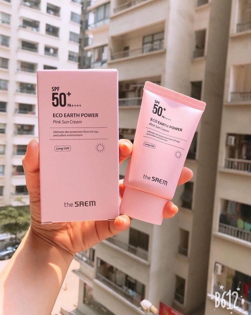 Review Kem chống nắng Hàn Quốc The Saem Eco Earth Pink Sun Cream