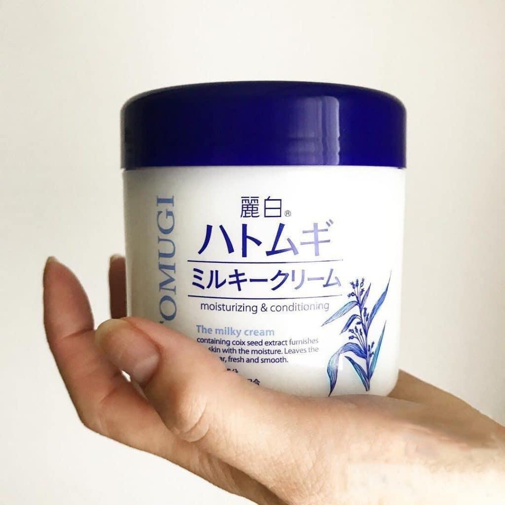 Review Kem dưỡng ẩm của Nhật Reihaku Hatomugi Moisturizing & Conditioning Milky Cream