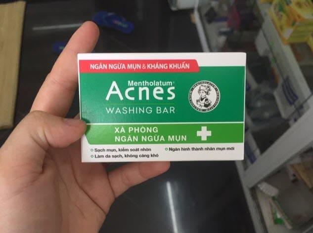 Review Xà phòng trị mụn lưng Acnes Washing Bar