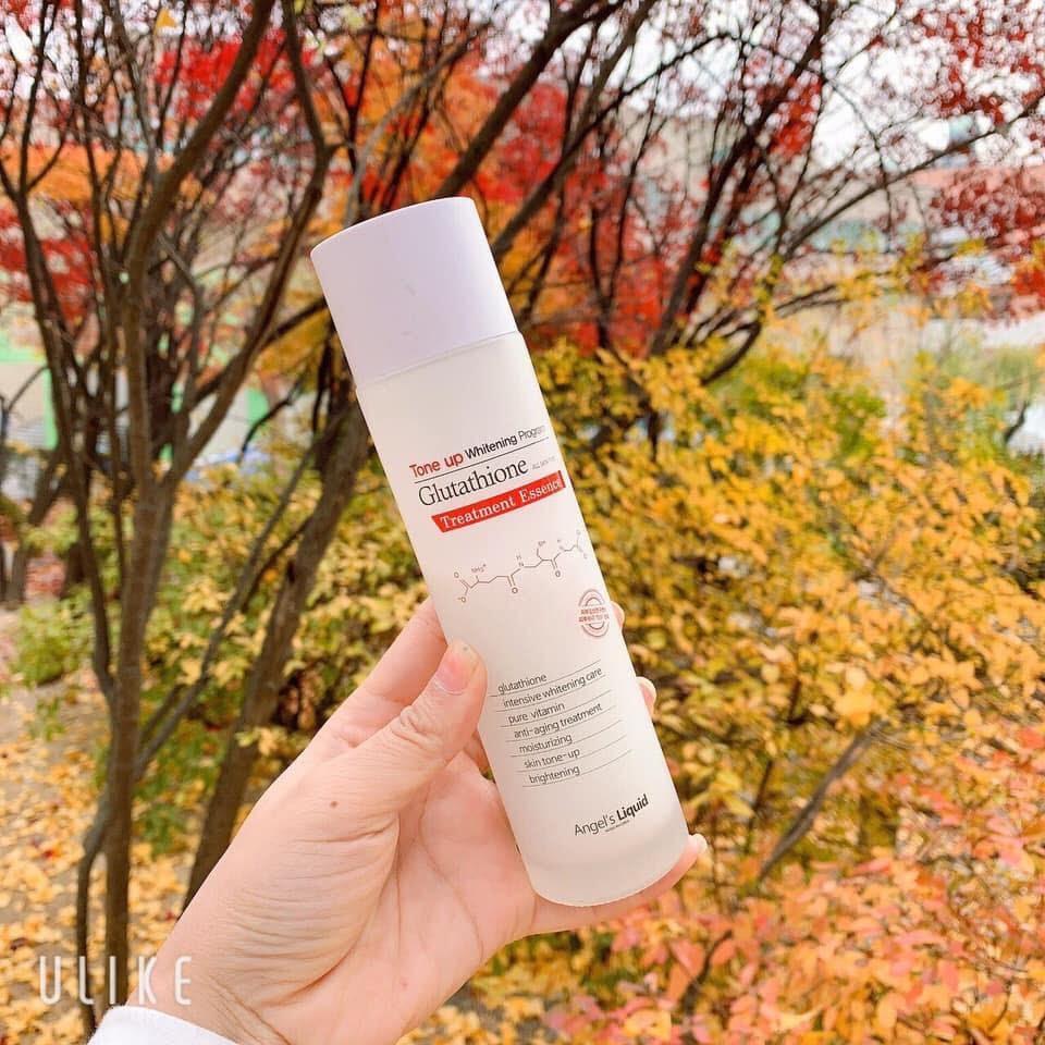 Review Nước hoa hồng trắng da Angel's Liquid Tone Up Whitening Program Glutathione Treatment Essence