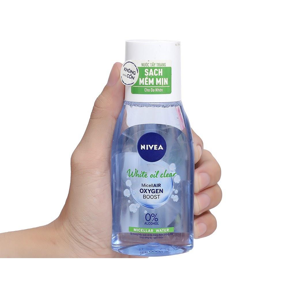 Review Nước tẩy trang cho da hỗn hợp thiên dầu Nivea White Oil Clean Micellar Water
