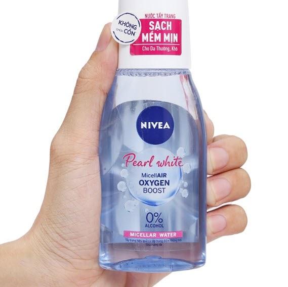 Review Nước tẩy trang cho da hỗn hợp thiên khô Nivea Pearl White Micellar Water