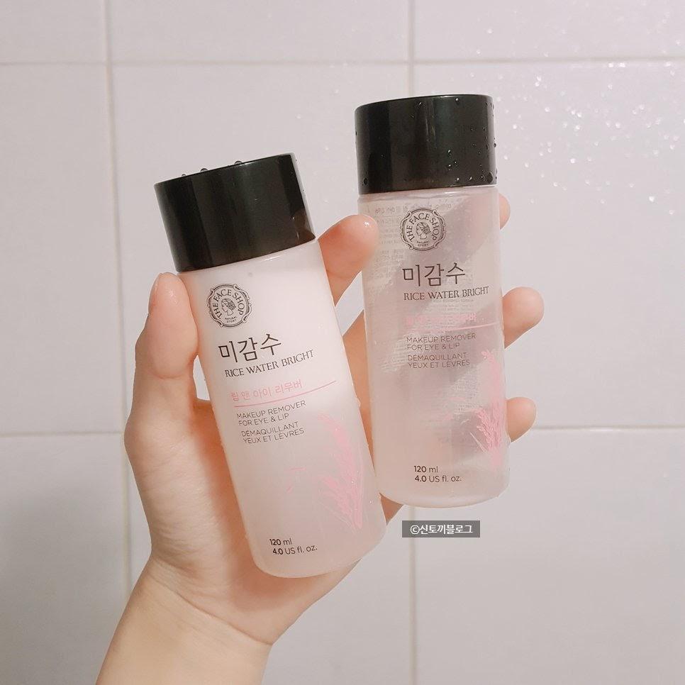 Review Nước tẩy trang mắt môi The Face Shop Rice Water Bright Lip & Eye Makeup Remover