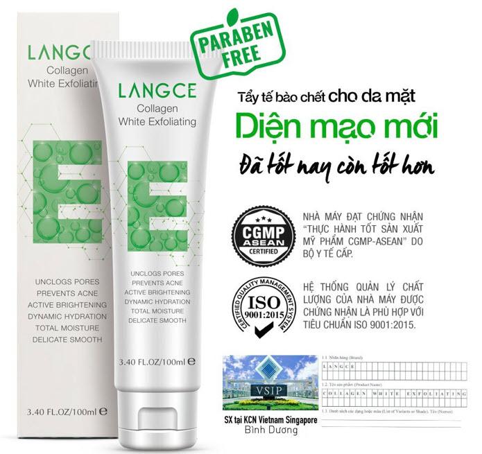 Review Tẩy tế bào chết dành cho nam Langce Collagen White Exfoliating
