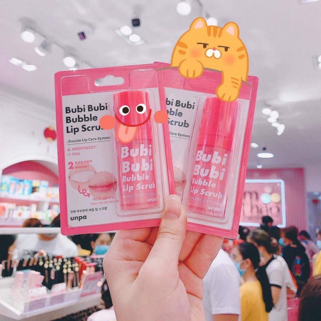 Review Tẩy tế bào chết môi Unpa Bubi Bubi Bubble Lip Scrub