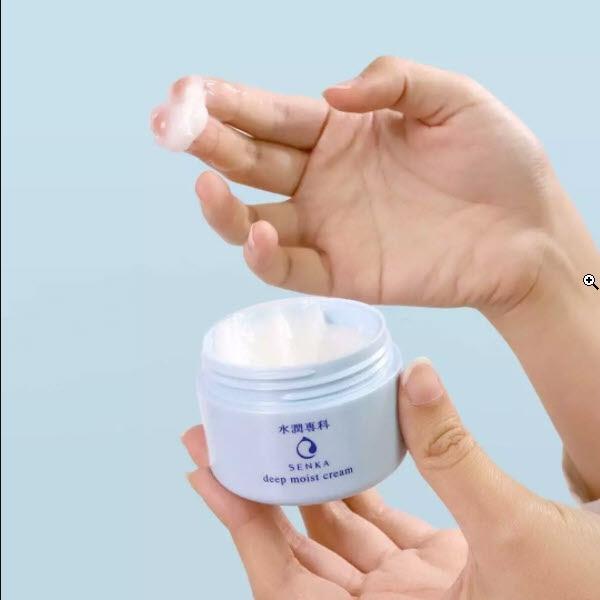 Review Mặt nạ ngủ cấp ẩm chuyển sâu Senka Deep Moist Gel Cream