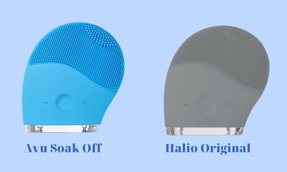 So sánh máy rửa mặt Avu Soak Off và Halio Original
